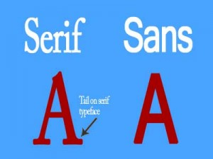 The visual difference between a sans and serif font.